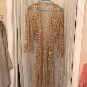 River Island belted sequin rose gold kimono